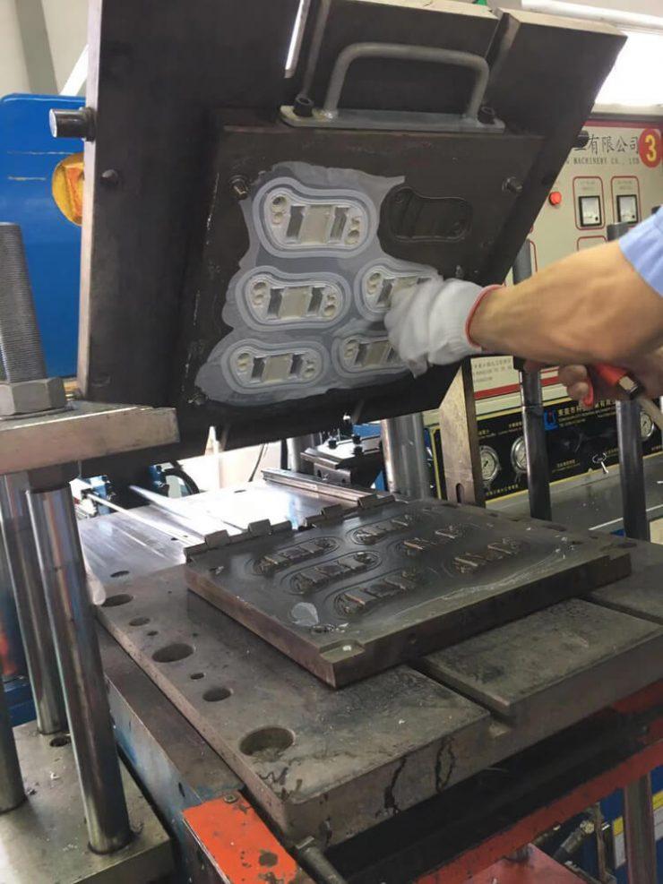 Liquid silicone rubber overmolding
